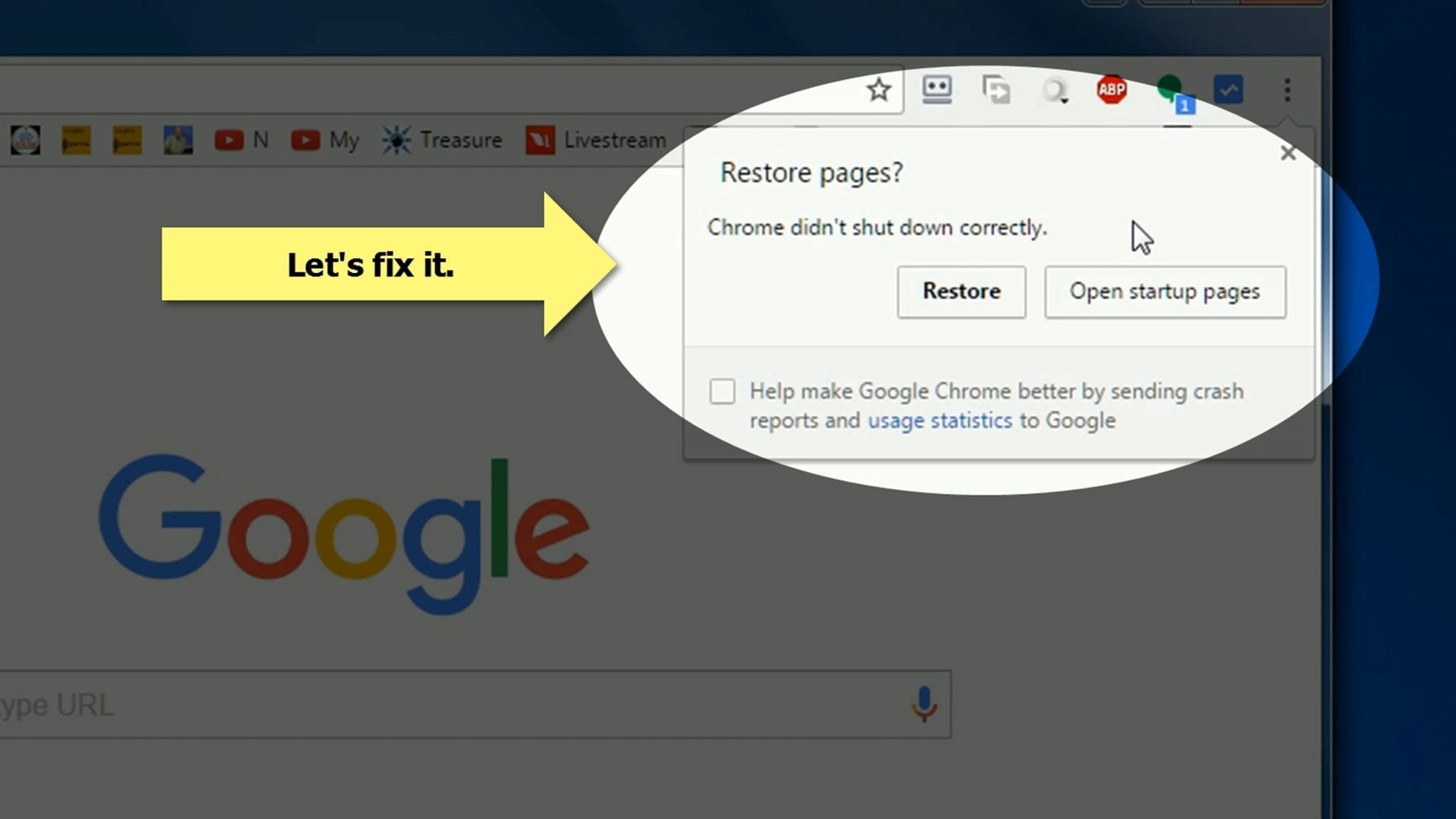 Chrome didnt shut down correctly solved