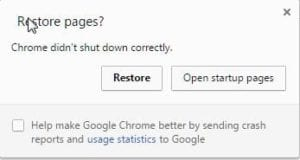 Chrome didn't shut down correctly Restore Pages?